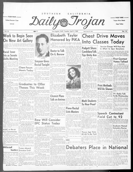 Daily Trojan, Vol. 40, No. 113, April 05, 1949