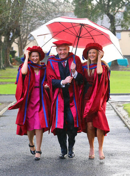 Waterford Institute Of Technology Conferring. Pictured at WIT Waterford Institute Of Technology Conferring is Jill O'Mahoney, Waterford, Phil Brennan, Waterford and Geraldine Cleere, Waterford, who were conferred a Doctor of Philosophy. Picture: Patrick Browne