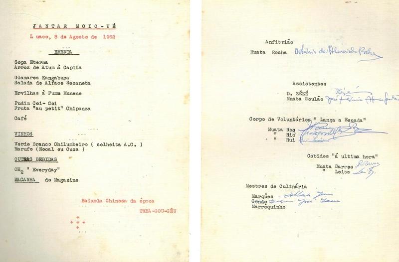 8-8- 1962 - Ementa -Jantar no Luaco