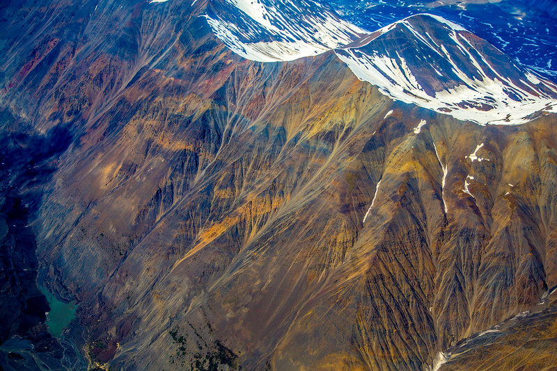 Dendritic patterns and chemical colors in the Alaska Range, at 9000 ft.