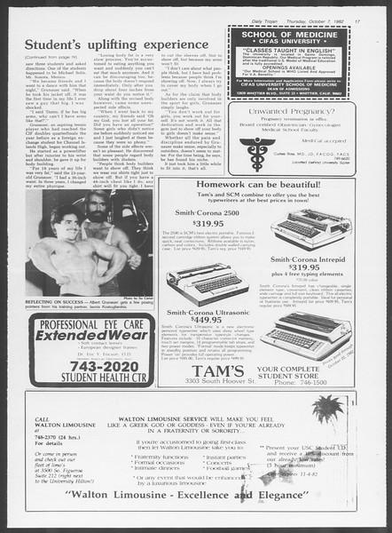 Daily Trojan, Vol. 92, No. 23, October 07, 1982