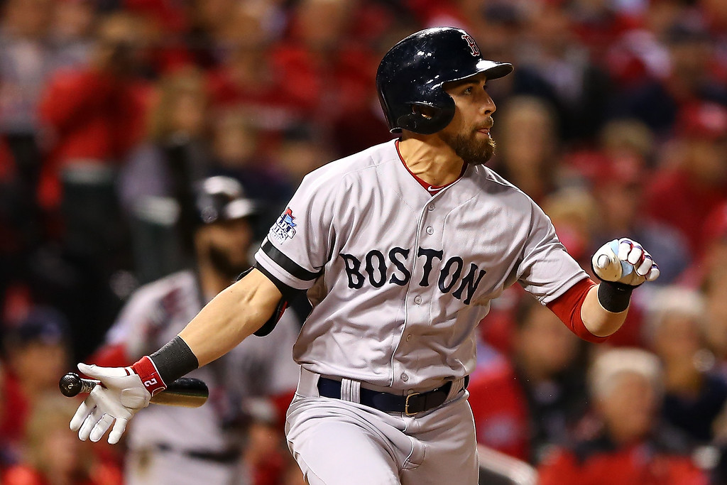 . Jacoby Ellsbury #2 of the Boston Red Sox hits a RBI single scoring Stephen Drew #7 in the seventh inning against the St. Louis Cardinals during Game Five of the 2013 World Series at Busch Stadium on October 28, 2013 in St Louis, Missouri.  (Photo by Elsa/Getty Images)