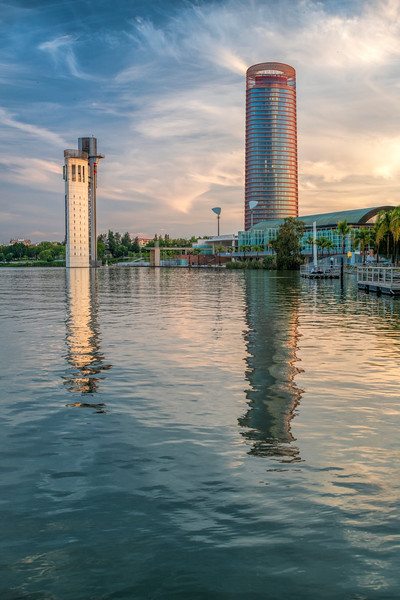 Torre Sevilla skyscraper (right) and Schindler tower (left) by the Guadalquivir river, Seville, Spain.