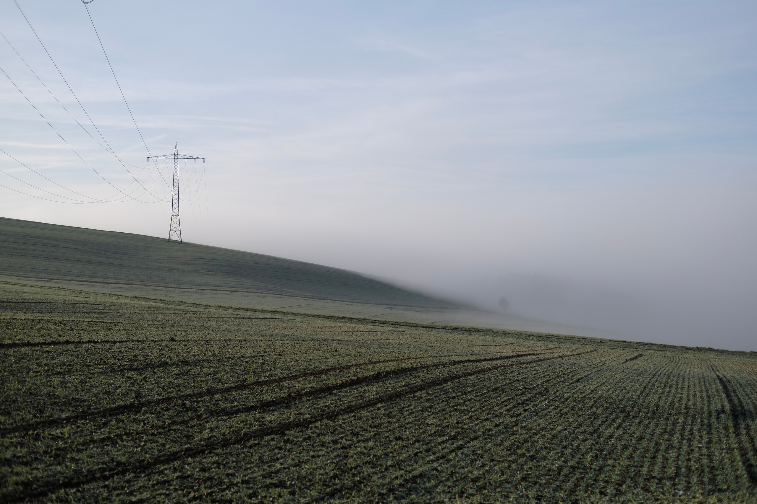 A downward sloping field swallowed by fog in the distance, a high-voltage transmission line on the left
