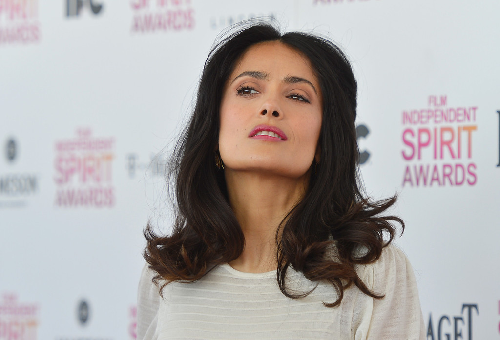 . SANTA MONICA, CA - FEBRUARY 23:  Actress Salma Hayek attends the 2013 Film Independent Spirit Awards at Santa Monica Beach on February 23, 2013 in Santa Monica, California.  (Photo by Frazer Harrison/Getty Images)