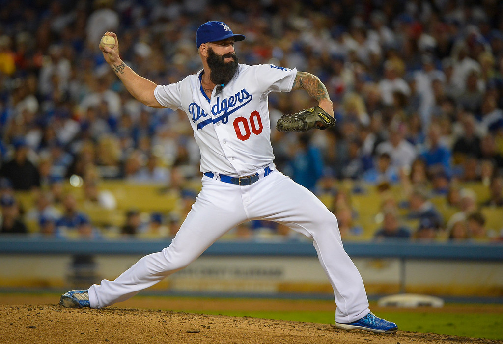 . Dodgers\' Brian Wilson relieves Hyun-Jin Ryu in game 3 of the NLCS series at Dodger stadium Monday, October 14, 2013 ( Photo by Andy Holzman/Los Angeles Daily News )