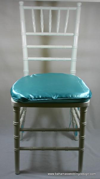 Satin Chair Pad Cover - Aqua