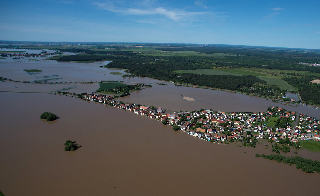 . Aerial view shows the flooded streets of Goehlis, eastern Germany on June 5, 2013.   AFP PHOTO / JOHANNES  EISELE/AFP/Getty Images