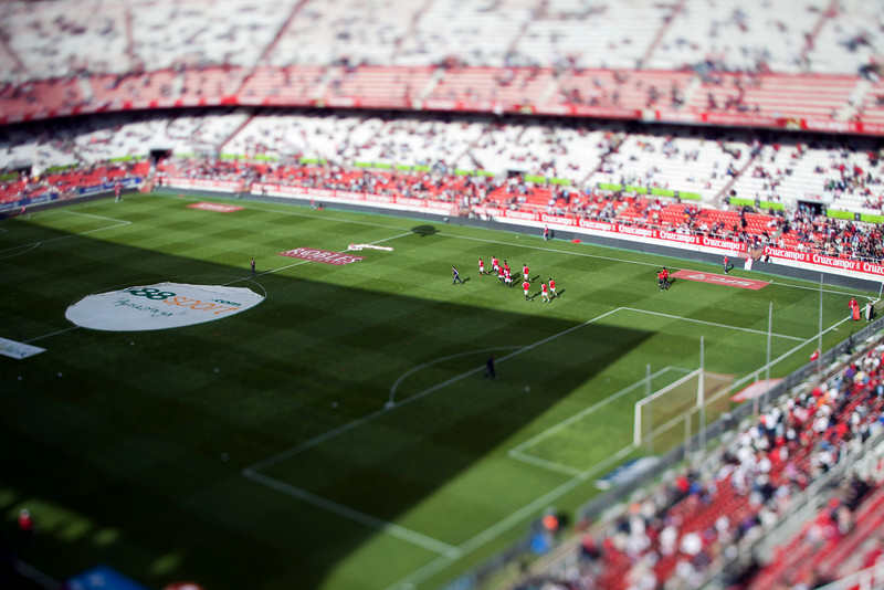 The players waming up before the Spanish Liga football game between Sevilla FC and Real Madrid CF that took place at Sanchez Pizjuan stadium, Seville, Spain, on 26 April 2009. Tilted lens used for a shallower depth of field.