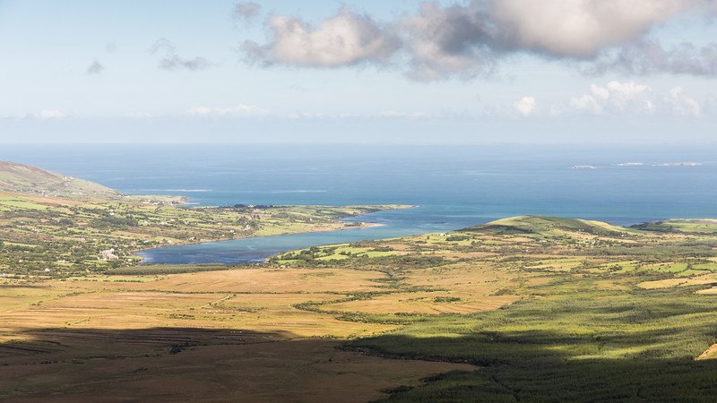 Owenmore Valley and Cloghane Estuary from Conor Pass
