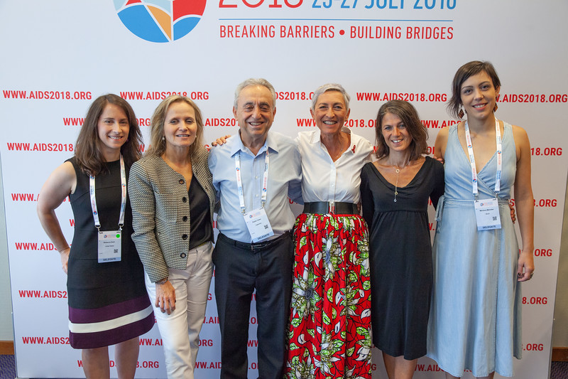 The Netherlands, Amsterdam, 24-7-2018. Press Conference HIV Prevention Highlights Research. L-R Rebecca Zash, Sharon Lewin, Pedro Cahn, Linda-Gail Bekker, Sarah Fidler, Mariana Veloso Meireles.Photo: Rob Huibers for IAS. (Please publish always with complete attribution).