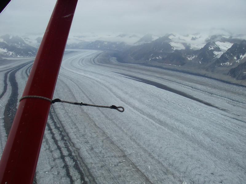 Flying above Kahiltna Glacier.
