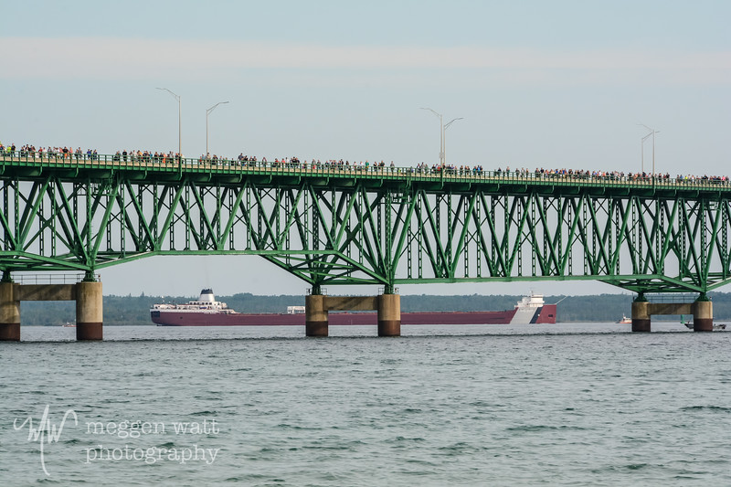 TLR-20180903-4410 MV Roger Blough glides under the Mackinac Bridge during the annual Labor Day Bridge Walk 2018