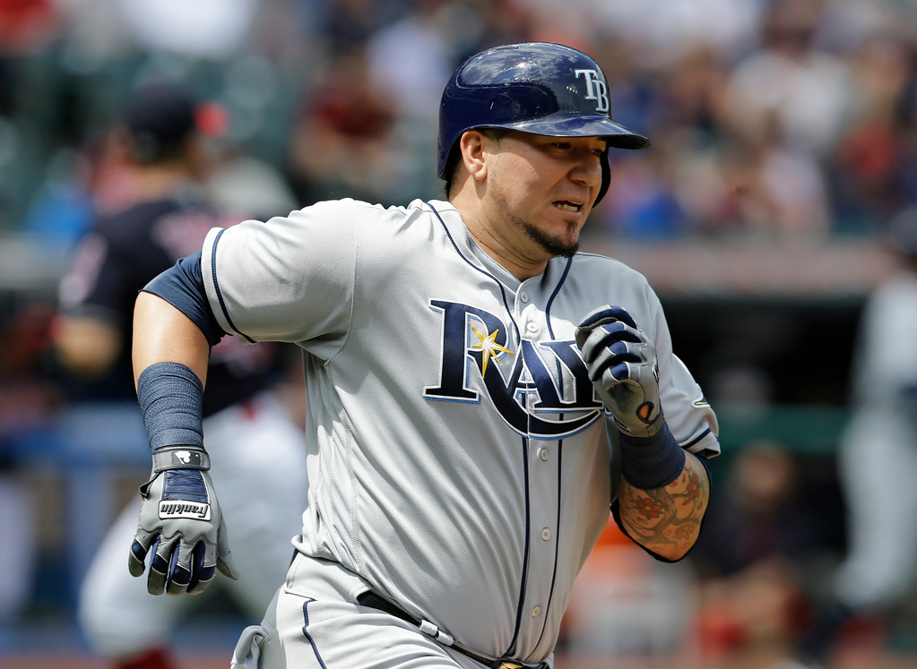 . Tampa Bay Rays\' Jesus Sucre runs the bases after hitting a one-run double off Cleveland Indians starting pitcher Josh Tomlin in the second inning of a baseball game, Wednesday, May 17, 2017, in Cleveland. Tim Beckham scored on the play. (AP Photo/Tony Dejak)