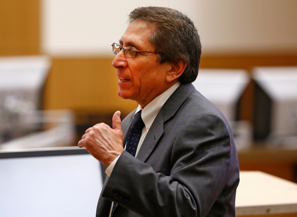 . Prosecutor Juan Martinez makes his closing arguments to the jury on Tuesday, May 21, 2013 during the penalty phase of the Jodi Arias murder trial at Maricopa County Superior Court in Phoenix. Arias was convicted of first-degree murder in the stabbing and shooting to death of Travis Alexander in his suburban Phoenix home in June 2008. (AP Photo/The Arizona Republic, Rob Schumacher, Pool)