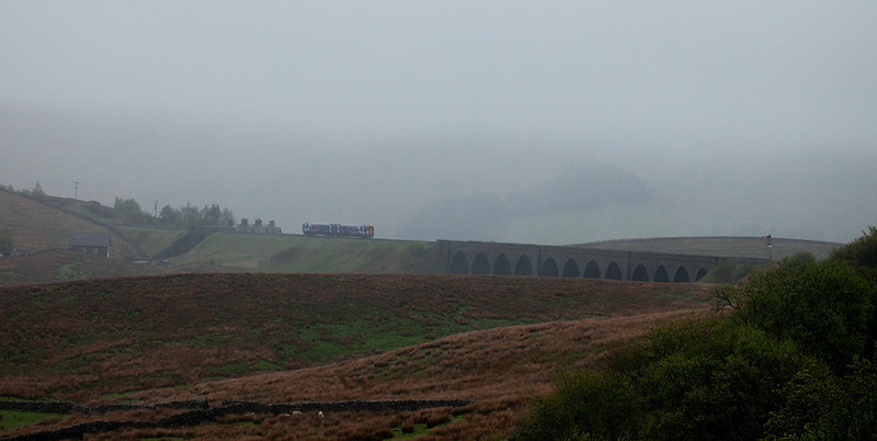 DMU on Moorcock Viaduct near Garsdale.