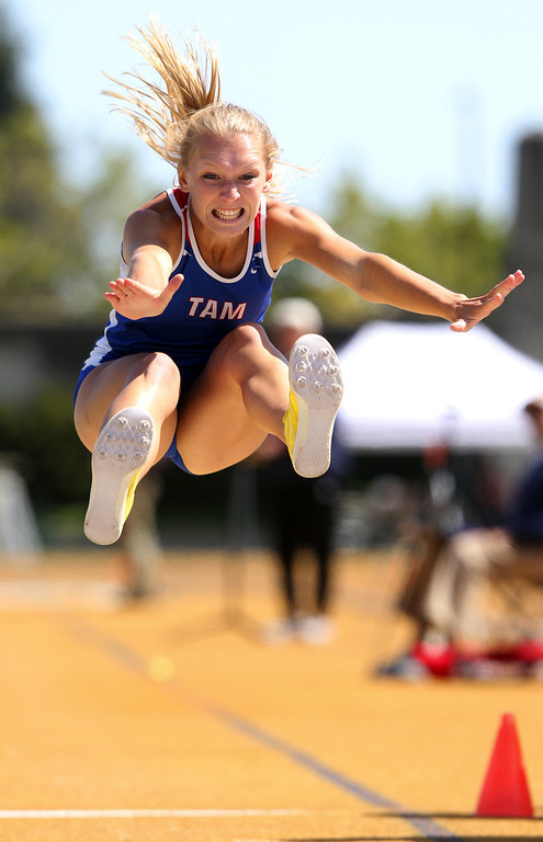 . Tamalpais\' Jessica Rasmussen competes in the girls long jump at the North Coast Section Meet of Champions at Cal\'s Edwards Stadium in Berkeley, Calif., on Saturday, May 25, 2013. Hutchins placed second in the race. (Anda Chu/Bay Area News Group)