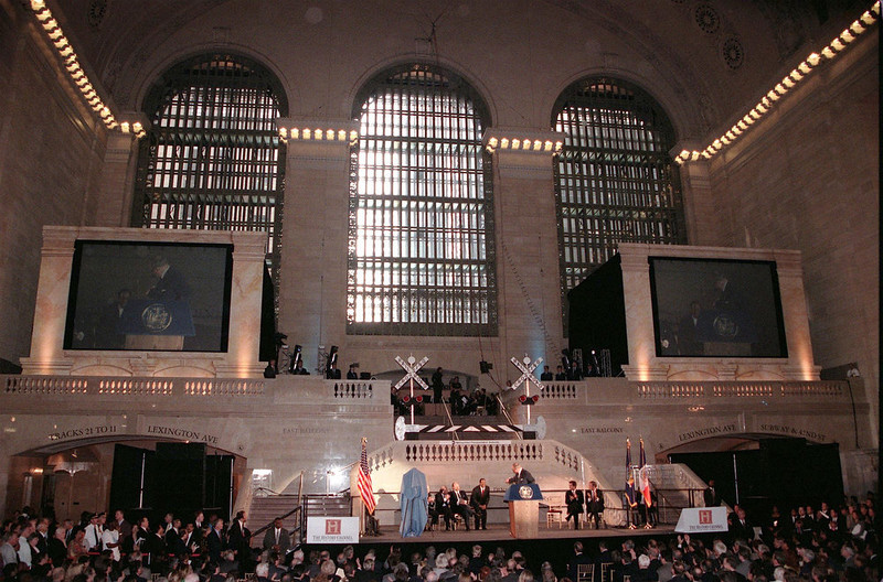 . The newly renovated east facade of the 85-year-old Grand Central Station in New York City features a new marble staircase built with designs from the original construction. The $196 million USD renovation project also included cleaning the ceilings and marble work inside the terminal which was rededicated 01 October with dignitaries including John F. Kennedy Jr. and New York Governor George Pataki.  MATT CAMPBELL/AFP/Getty Images