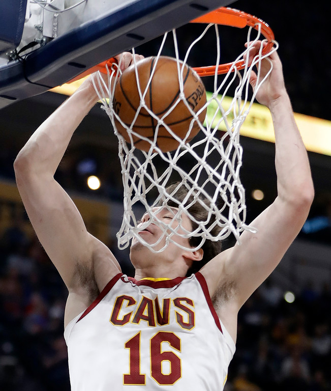 . Cleveland Cavaliers\' Cedi Osman dunks during the first half of an NBA basketball game against the Indiana Pacers, Friday, Jan. 12, 2018, in Indianapolis. (AP Photo/Darron Cummings)