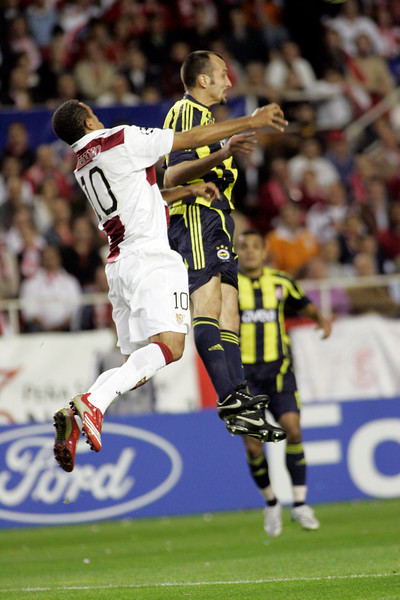 Luis Fabiano and Edu jumping. UEFA Champions League first knockout round game (second leg) between Sevilla FC (Seville, Spain) and Fenerbahce (Istambul, Turkey), Sanchez Pizjuan stadium, Seville, Spain, 04 March 2008.