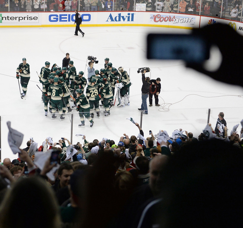 . The Minnesota Wild defeated the Colorado Avalanche 2-1 Thursday night April 24, 2014 at the Xcel Energy Center in St. Paul. The series is now knotted up a two games apiece. (Photo by Karl Gehring/The Denver Post)