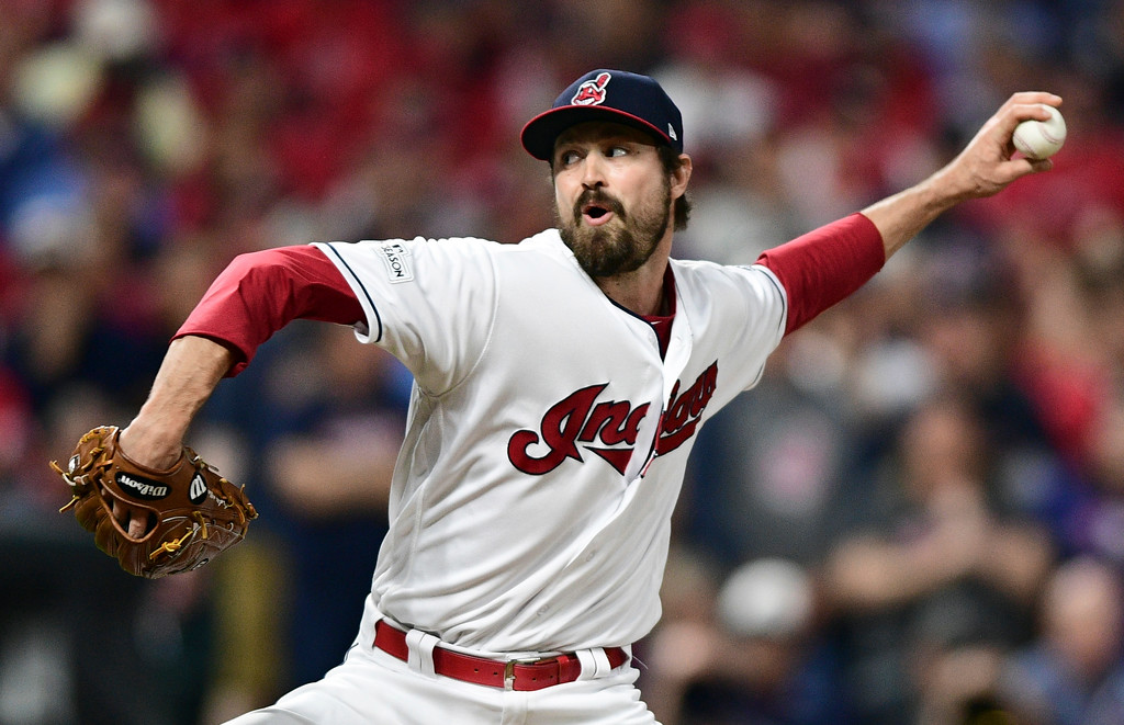 . Cleveland Indians relief pitcher Andrew Miller delivers during the seventh inning of Game 1 of a baseball American League Division Series against the New York Yankees, Thursday, Oct. 5, 2017, in Cleveland. (AP Photo/David Dermer)
