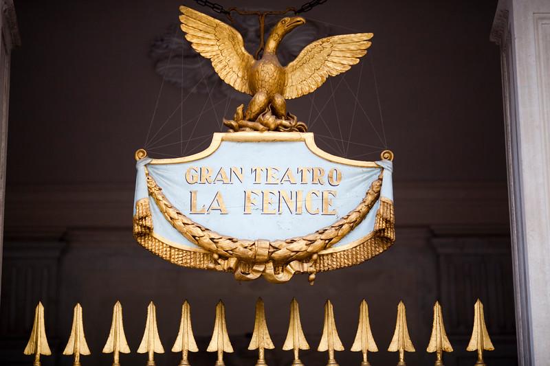 Sign on the door of La Fenice Theater, Venice, Italy