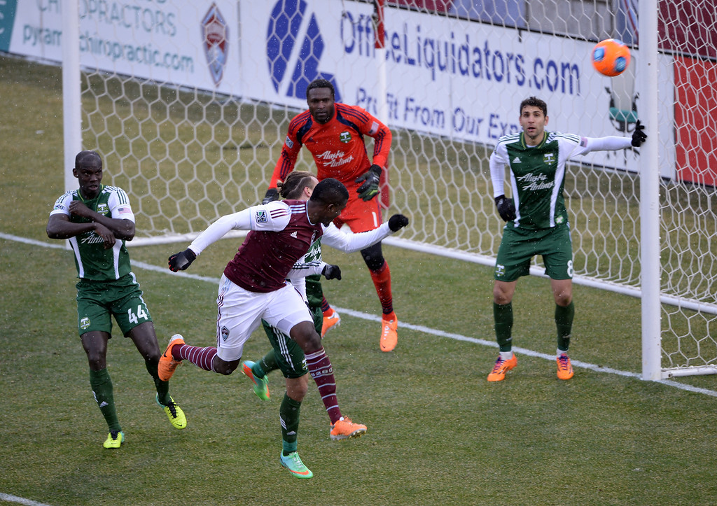 . COMMERCE CITY MARCH 22: Edson Buddle of Colorado Rapids (9), front, attempts to score in the 2nd half of the game against Portland Timbers at Dick\'s Sporting Goods Park. Commerce City, Colorado. March 22. 2014. Colorado won 2-0. (Photo by Hyoung Chang/The Denver Post)