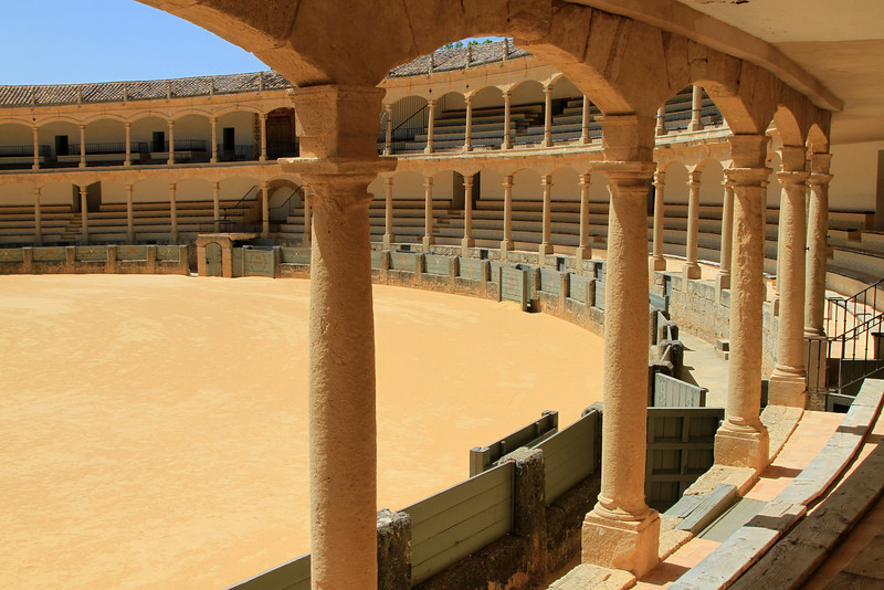 The spectators view of the old bullring at Ronda.