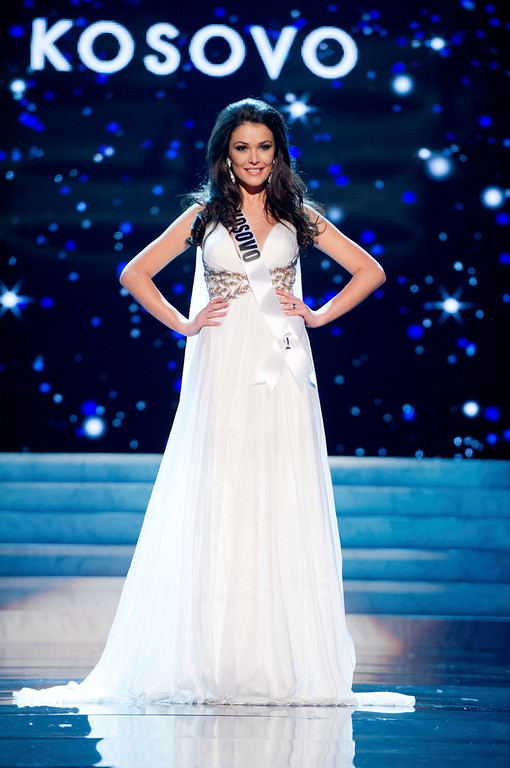 . Miss Kosovo 2012 Diana Avdiu competes in an evening gown of her choice during the Evening Gown Competition of the 2012 Miss Universe Presentation Show in Las Vegas, Nevada, December 13, 2012. The Miss Universe 2012 pageant will be held on December 19 at the Planet Hollywood Resort and Casino in Las Vegas. REUTERS/Darren Decker/Miss Universe Organization L.P/Handout