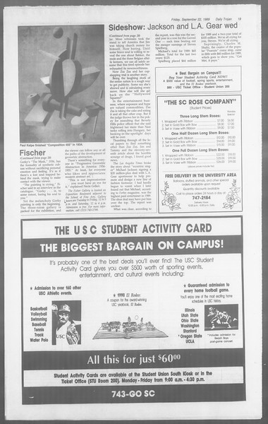 Daily Trojan, Vol. 110, No. 14, September 22, 1989
