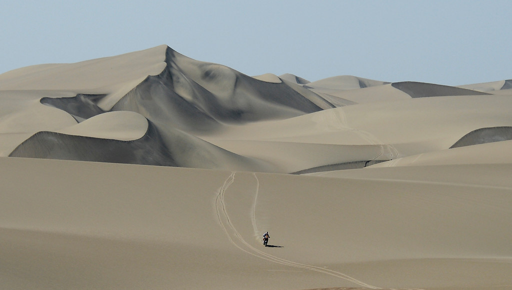 . KTM rider Cyril Despres of France competes in the 2nd stage of the 2013 Dakar Rally in Pisco, Peru,  Sunday, Jan. 6, 2013. The race finishes in Santiago, Chile, on Jan. 20. (AP Photo/Franck Fife, Pool)