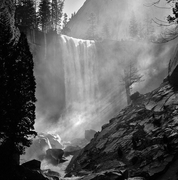 "From our new book ""Yosemite Our Way"" chapter nine  Vernal Mist ""It's early dude. Too early!"" Yeah, the twin was right, we made better time up the trail than we had planned. Still, even though the entire Vernal canyon was still in shadow, better to be in position for the first light rather than miss something important. What happened next, neither of us could have planned any better. We stood there trying to ignore the fact that we were basically in a refrigerator, waiting patiently for the first cracks of light across the scene. Sethy found consolation in sucking on some peaches while busying himself fighting off a brave chipmunk attack on his granola bar stash. Me… I waited still, neatly settled into a pop tart when suddenly Jonah let out a YELP! ""Whoa! Donny, dude! Check out the light beam action coming through the mist! That is SWEET! Hit it! Hit it!"" Not knowing how long the laser show would last, our quiet breakfast tranquility instantly transformed into a psycho- blitzkrieg. It was zero to panic attack in two seconds. ""Agggghh!""  ""YOSEMITE OUR WAY"" https://www.createspace.com/3478590"