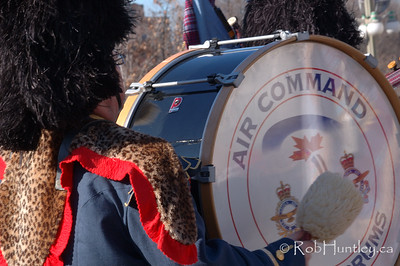 Base drum in the pipe and drum band at the 2009 Remembrance Day Ceremony in Ottawa, Ontario..  © Rob Huntley