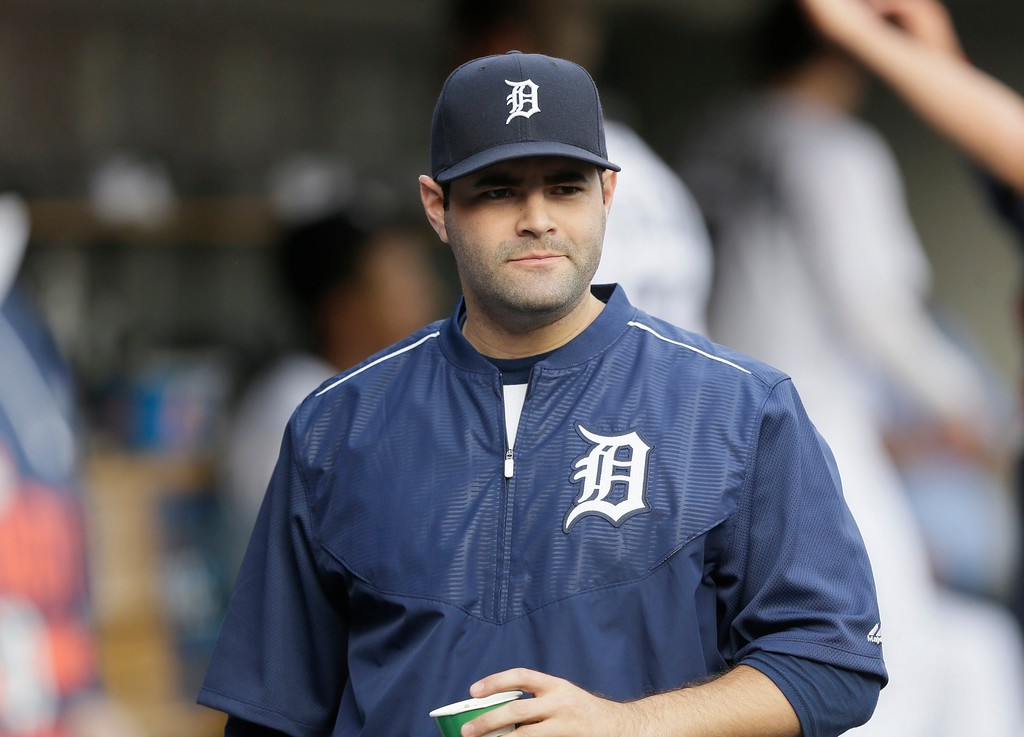 . Detroit Tigers catcher Alex Avila is seen in the dugout before the first inning of a baseball game against the Chicago Cubs, Tuesday, June 9, 2015, in Detroit. (AP Photo/Carlos Osorio)