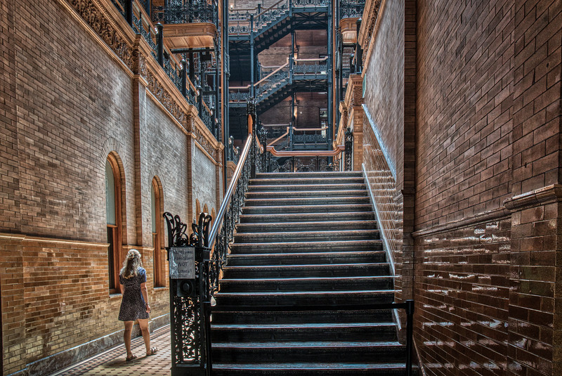 Different view as one approaches the lobby of the Bradbury Building