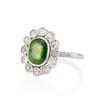 4.38ctw Art Deco Russian Demantoid & Diamond Cluster Ring 1