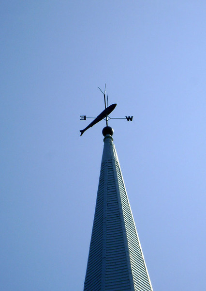 UNION CONGREGATIONAL CHURCH Isle au Haut, Maine  Owing to Isle au Haut's main lifeline -- fishing of any type -- I would have to say this weathervane is very appropriate.