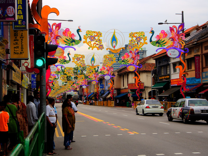 Decorations in little India Singapore before the Diwali celebration