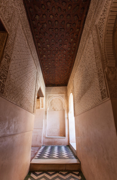 Detail of a hallway inside the Alhambra.