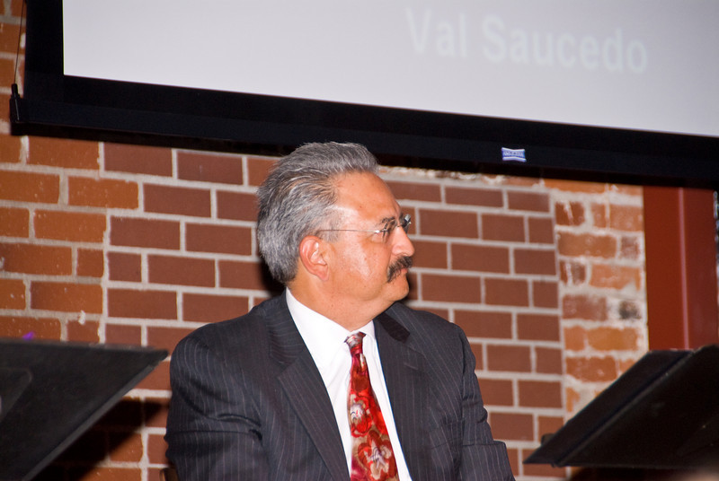 """210 Connect 4/14/2008   Forum topic: """"Pathways to Our Future"""" - an opening dialog to envision a better future for Visalia.The Honorable Val Saucedo waiting to make his presentation."""