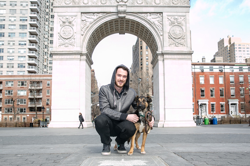 . In this image released on Friday, March 14, 2014, Robin and Mum at Washington Square Park in New York City. Humane Society International has been working with Robin Douglas Macdonald and Olympic silver medalist Gus Kenworthy for the past several weeks in trying to transport the dogs from Sochi, Russia, to the United States. (Christopher Lane/AP Images for Humane Society International)