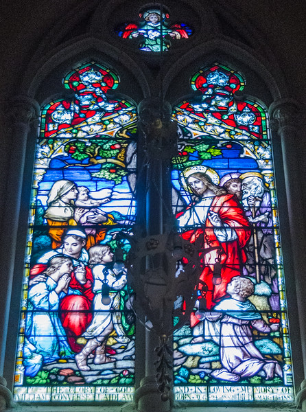Baptistry - Christ blessing the children <br> glass by Meyer, Munich