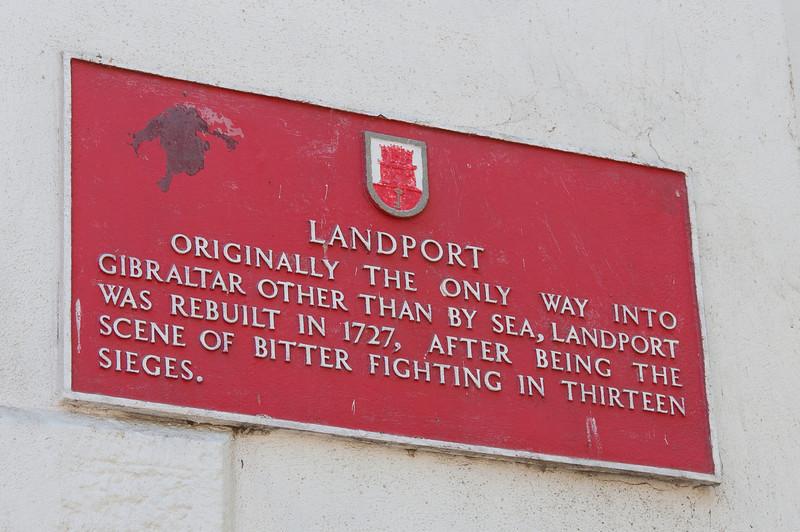 The sign at Landport gate in Gibraltar