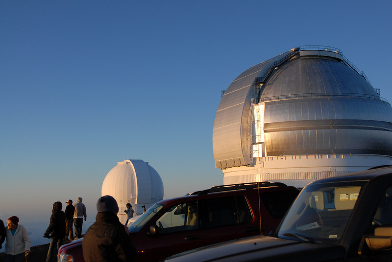 Tourists near the telescopes in Mauna Kea, Hawaii