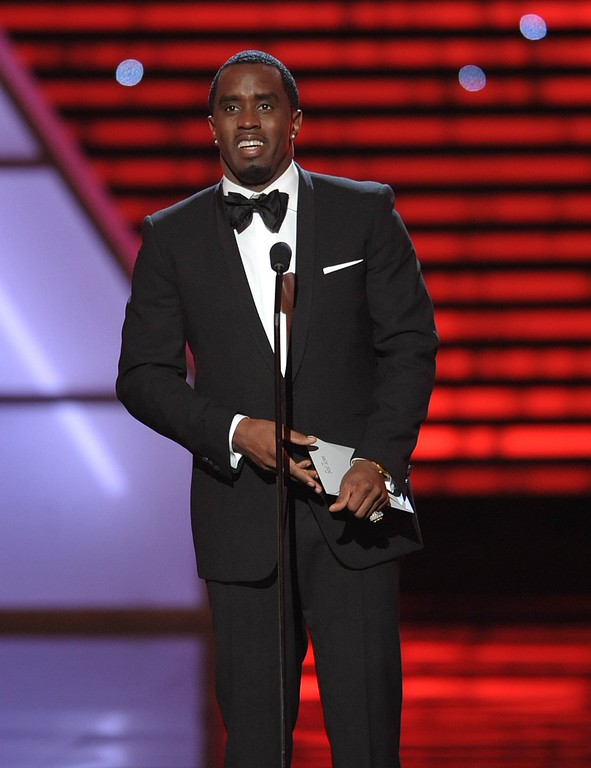 """. Sean \""""Diddy\"""" Combs speaks on stage at the ESPY Awards on Wednesday, July 17, 2013, at the Nokia Theater in Los Angeles. (Photo by John Shearer/Invision/AP)"""
