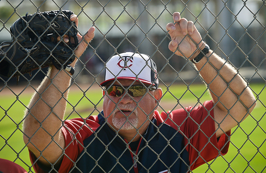 . Twins manager Ron Gardenhire watches his players on the field. (Pioneer Press: Ben Garvin)