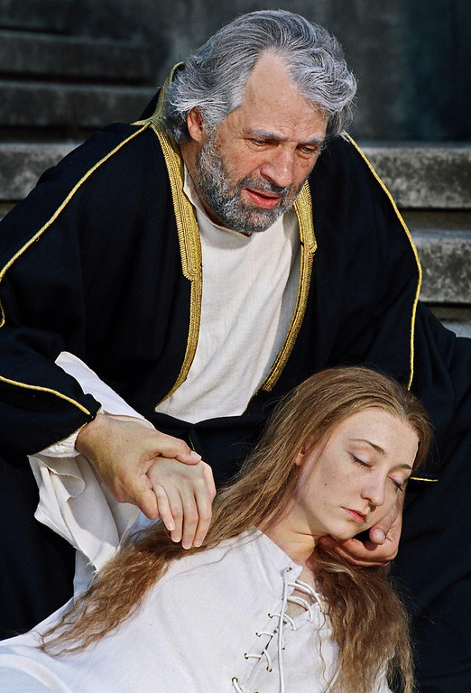 ". Lawrence Hecht as Lear and Mary McCool as Cordelia in Shakespeare Santa Cruz\'s 2006 production of ""King Lear.\"" (Photo courtesy of R.R. Jones, SSC)"