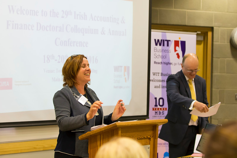 18/05/2016. Irish Accounting & Finance Accociation Annual Conference at WIT (Waterford Institute of Technology). Pictured speaking is Clare Kearney WIT . Picture: Patrick Browne