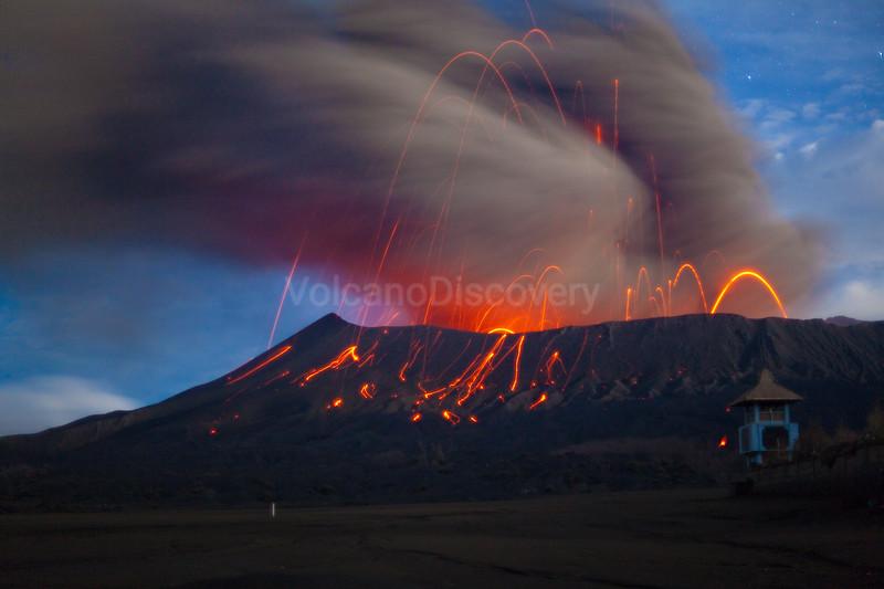 Eruption at Bromo at night